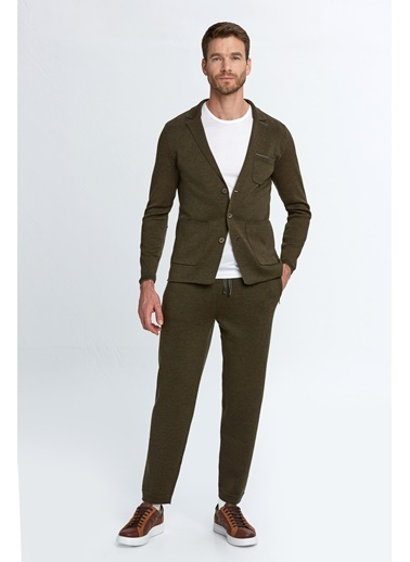 Hemington Extrafine Merino Koyu Loungewear Triko Hırka Yeşil